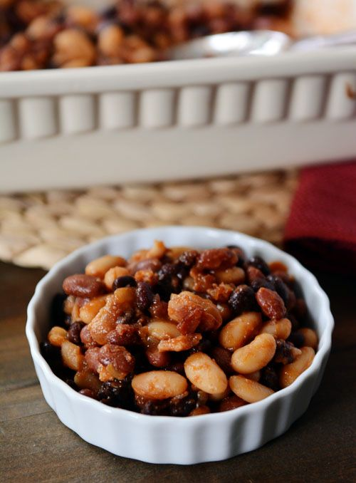 Famous Calico Baked Beans Recipe - 16 oz. can red pinto beans, 15 oz. can white kidney/ cannellini beans, 15 oz. can black beans. 8 oz. bacon, chopped, 1 cup chopped onion, 1/2 cup ketchup (see note), 1 tsp. Worcestershire sauce, 2 tsp. dry mustard, 1/3 cup brown sugar, 3/4 tsp. salt, 1 tbs. apple cider or red wine vinegar,  1/3 cup water or low-sodium broth,  1 tsp. cornstarch (optional, helps thicken the sauce a bit)