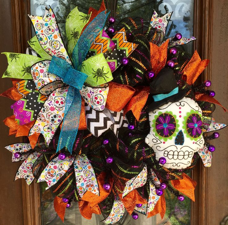 sugar skull day of the dead halloween wreath wwwfacebookcomsouthernsass - Day Of The Dead Halloween Decorations