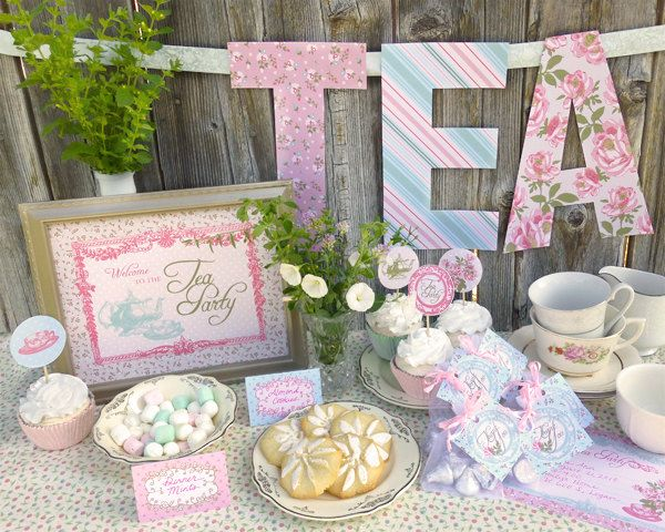Garden Tea Party Baby Shower Ideas vintage rose tea party with lots of darling ideas via karas party ideas karaspartyideas Tea Party Printable Set Baby Shower Bridal Shower Or Birthday Classic Shabby Chic Designs And Vintage Feel
