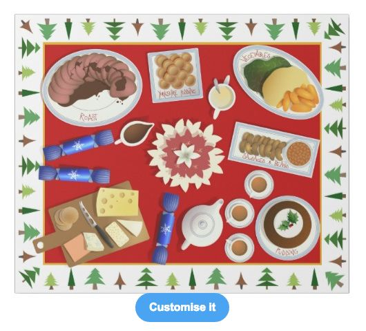 """The christmas menu"" custom christmas wrapping paper pattern on sale in my zazzle store! www.zazzle.com/martinaterzi check it out!"