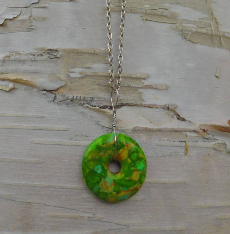 Mosaic Stone Pendant Necklace Circle Doughnut Shape Green Antique Silver Plated Chain St Patrick Day Gift