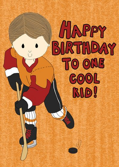 94 best sports cards images on pinterest kids cards birthdays and hockey themed birthday card featuring a boy with a hockey stick and a puck m4hsunfo