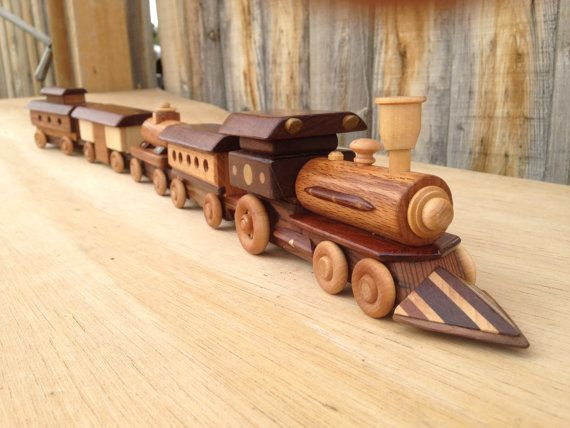 Wooden Toy Train with Locomotive Steam Engine 5 pc.Set Handcrafted All Wood Child Safe Gloss Finish Non Toxic. for Children or Man Cave
