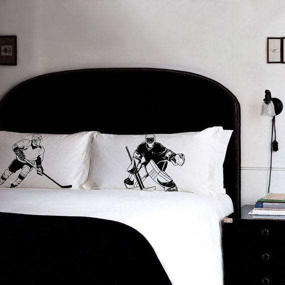 2 PILLOW fighting HOCKEY pillowcases fight air box ice field vintage sport retro UNIQUE Gift Black White room decor Standard pillow case New