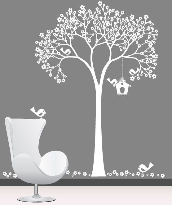 Nursery wall decal - White Cherry Tree, Birdhouse with Birds - Wall Decal. $129.00, via Etsy.