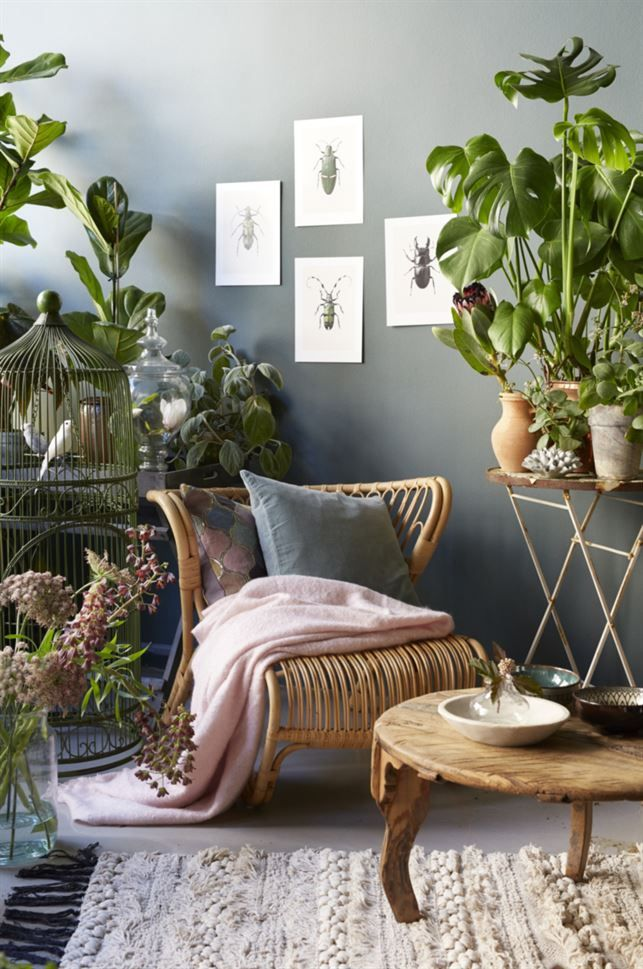 Romantisch urban jungle interieur met rotan stoel