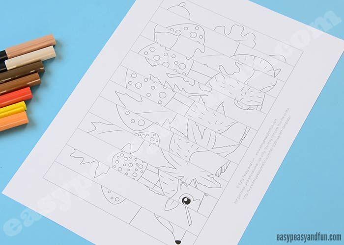 Fall Agamograph Template For Kids יצירה מנייר