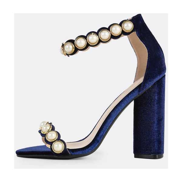 Velvet Pearl Band Ankle Strap Heels NAVY ($37) ❤ liked on Polyvore featuring shoes, royal blue, electric blue shoes, high heeled footwear, royal blue high heel shoes, ankle tie shoes and navy shoes
