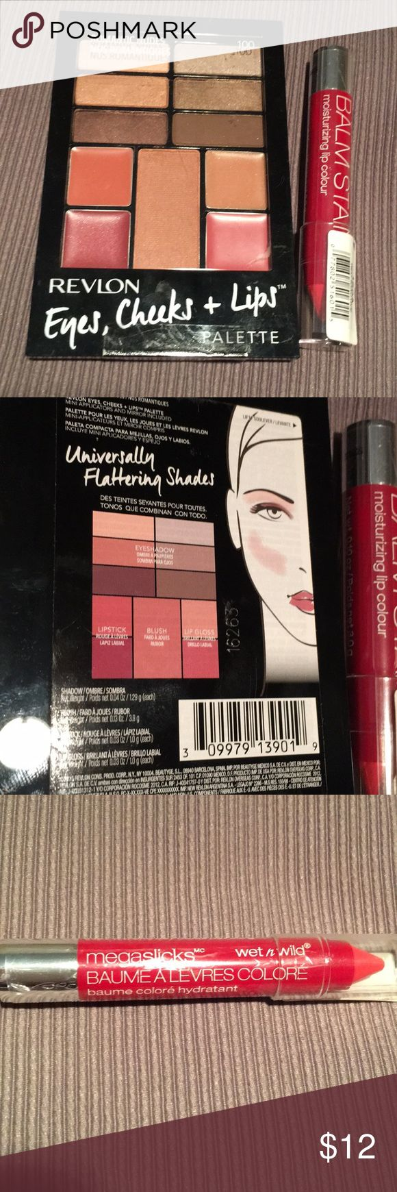"""NWT REVLON EYES, CHEEKS & LIPS + bonus BALM STAIN Revlon Eyes, Cheeks, + Lips Palette #100 Romantic Nudes makes it easy to take your """"look"""" along w/you for the evening! Features great selection of smoky yet neutral colors. As a bonus, I'm also throwing in a """"wet n' wild"""" megaslicks™️ Balm Stain #160A Red-Ioactive moisturising lip color. Price is firm unless you bundle! Revlon Makeup Eyeshadow"""