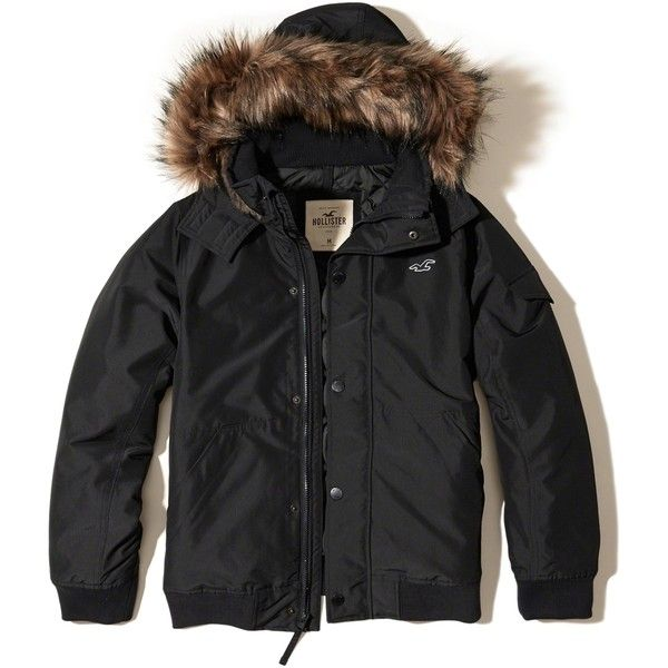 Hollister Fur Hood Bomber Jacket (2.205.000 VND) ❤ liked on Polyvore featuring men's fashion, men's clothing, men's outerwear, men's jackets, black, mens utility jacket, mens fur lined hooded jacket, mens hooded bomber jacket, mens hooded jackets and mens fur hood jacket