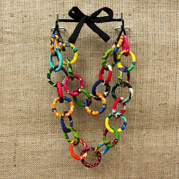 Handmade Ankara loop necklace by AnkaraS on Etsy