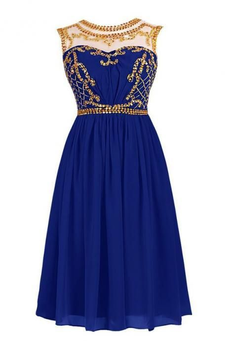 Royal Blue Short Homecoming Dress with Illusion Neckline and Gold Sequin Embellishment