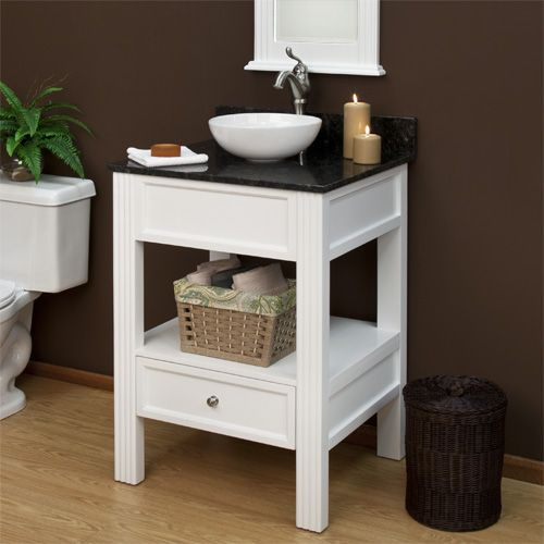 Great option for vessel sink and small powder room space for Powder room vanities for small spaces