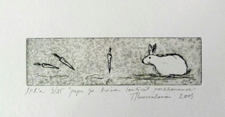 Dry pin etching, aquatint 2003, Bunny and her flying carrots