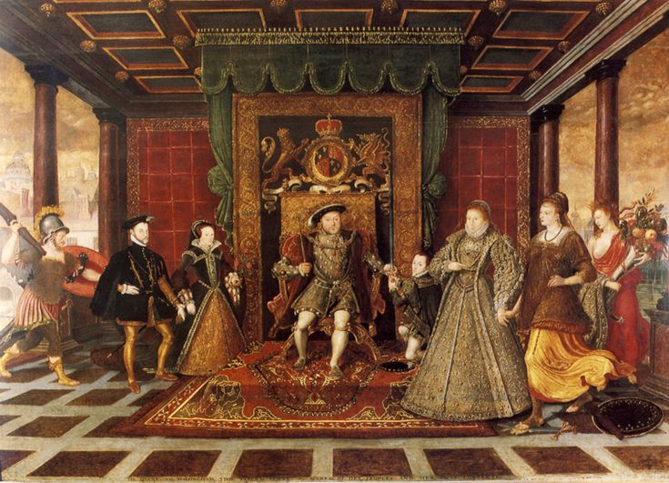 Family group of the Tudors with the figures of War, Peace and Plenty