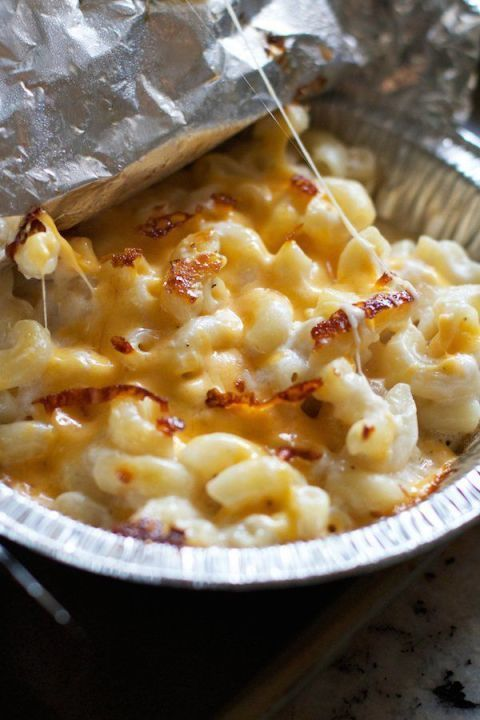 Camping hacks and more!  There are tons of genius ways to make your favorite foods outdoors. Blogger Lauren uses mini pie tins to pre-make individual macaroni and cheese servings that can be heated over the fire later. Get the recipe at Lauren's Latest.