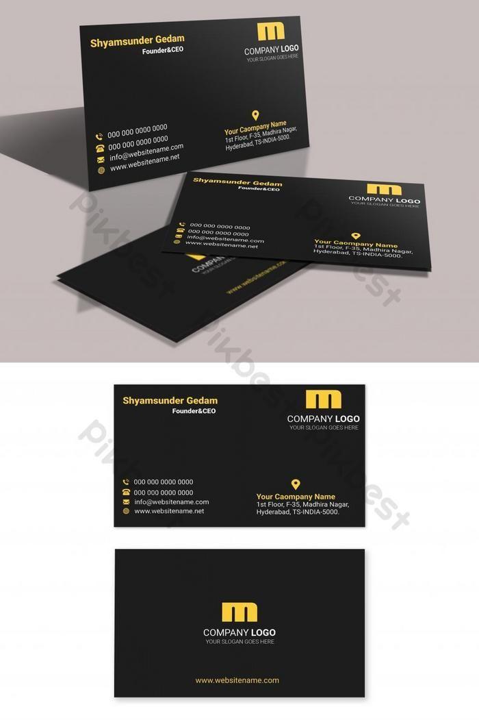 Golden Style In Dark Theme Business Card Pikbest Templates Business Card Corporate Business Card Psd Free Transparent Business Cards Business Cards Creative