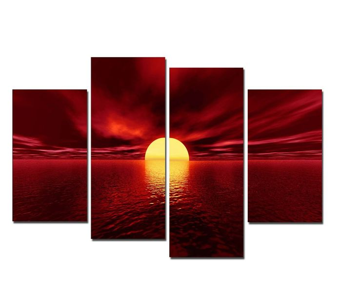 Canvas Prints, Stretched and Framed, Huge Canvas Print 4 Panels Red Sea Seascape Wall Art and Home Decoration, Canvas Art Print is Much Less Expensive than Oil Paintings P4RLA001 -- $78
