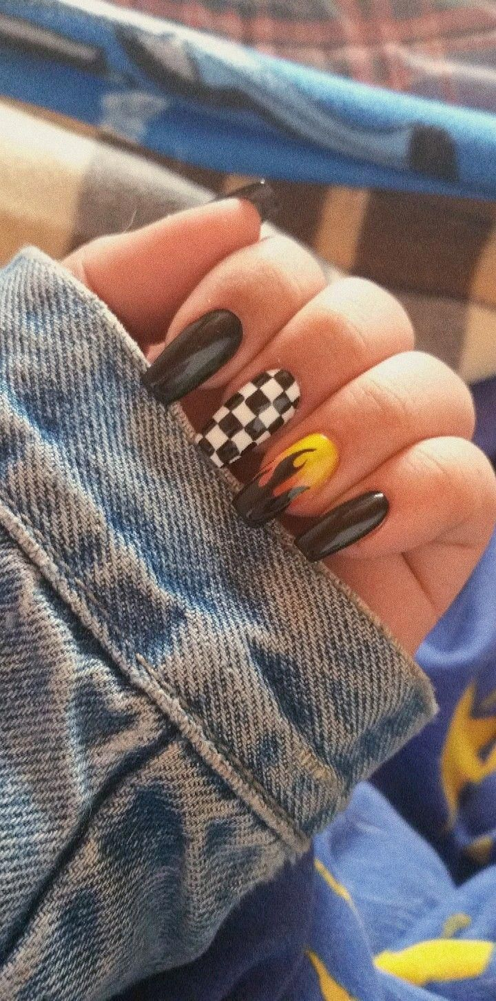 Nails Must Know Image Idea Number 3444381937 Brightsummernails Acrylic Nails Coffin Short Fire Nails Checkered Nails