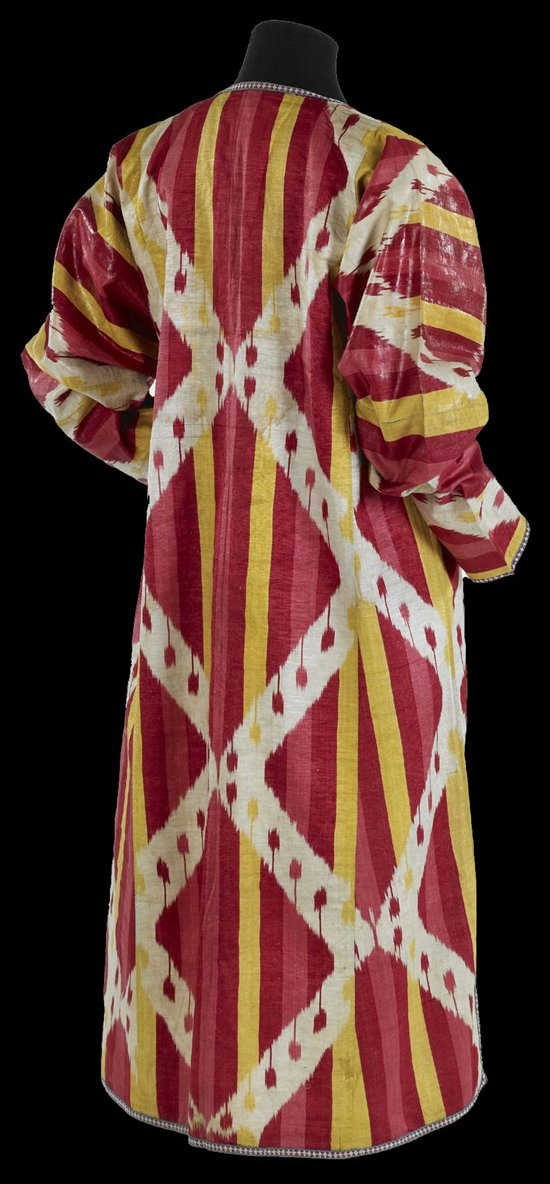 Fashion and Fabric: From the Textile Museum, Robe, Central Asia, Uzbekistan, Bukhara or Karshi, late 19th century. The Textile Museum 2005.36.95, The Megalli Collection.