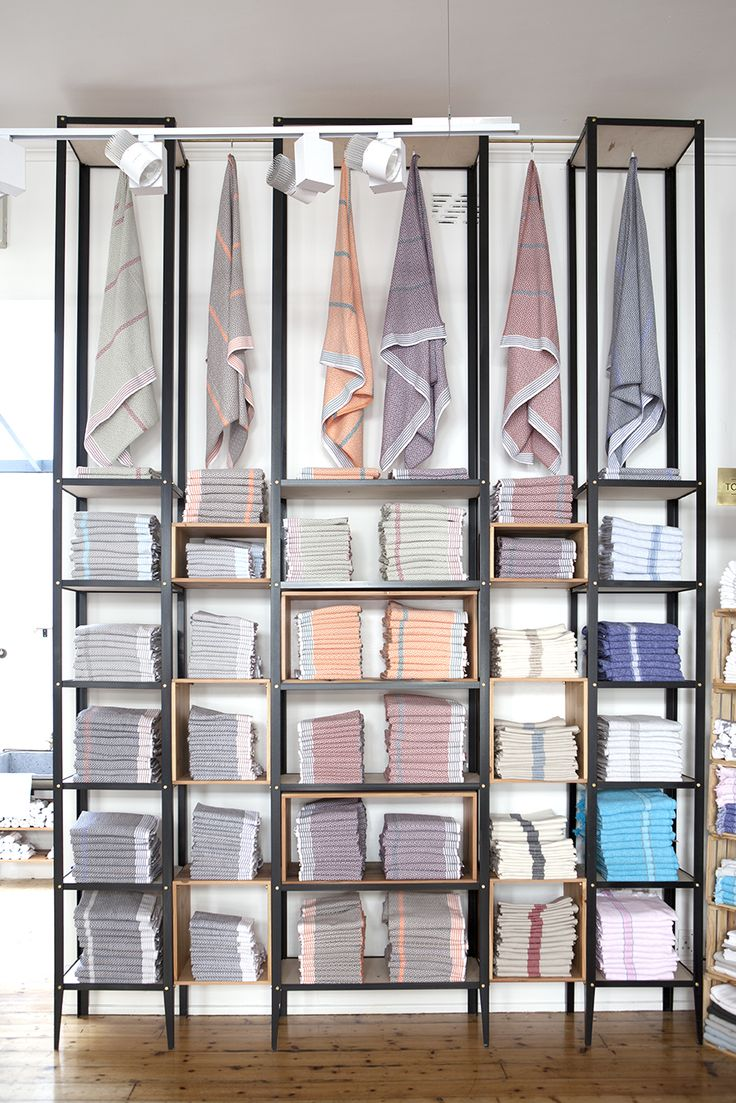 Flat Weave towels at the Mungo store in Cape Town. Minimal shop fitting ideas