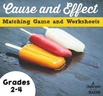 Cause and Effect Matching Game and WorksheetsHere's a fun way to review cause and effect.  You can use the game in your literacy centers, for…