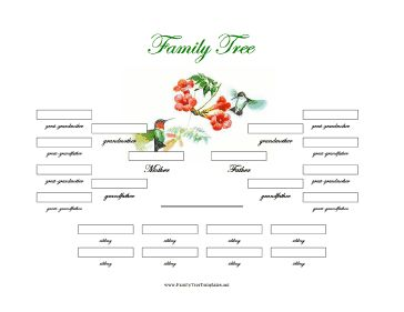 This printable family tree template is ideal for families in which there are as many as eight siblings. It covers four generations and is illustrated in color with a hummingbird and flower. Free to download and print