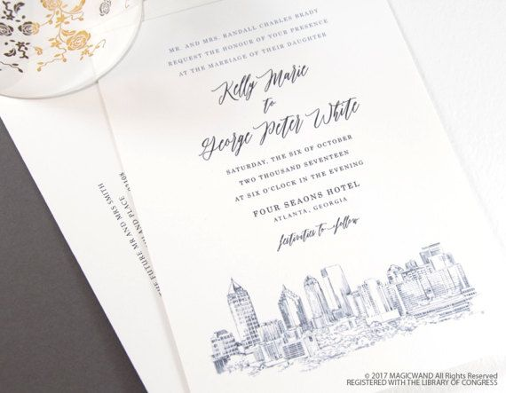 Atlanta Skyline Wedding Invitation, Atlanta Wedding, Atlanta Invite,Georgia  (Sold In Sets Of 10 Invitations, RSVP Cards + Envelopes)