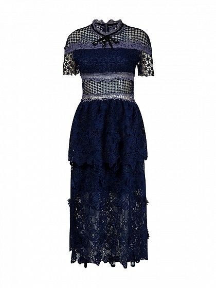 04aac09ca738 Navy Blue Mesh Panel 3D Floral Lace Double Layer Midi Dress - Choies.com    style   Dresses, Floral lace, Gypsy dresses
