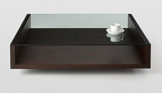 glass and wood coffee table modern