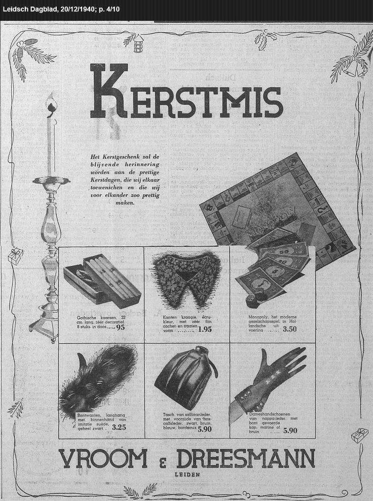 advertentie uit de krant, 20-12-1940