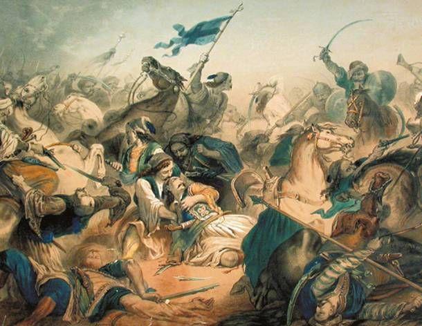 "Alphonse-Marie de Neuville: ""Ο θάνατος του Μάρκου Μπότσαρη"" - The death of Markos Botsaris."