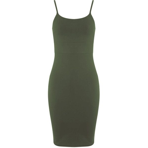 Miss Selfridge Khaki Strappy Bodycon Dress ($38) ❤ liked on Polyvore featuring dresses, khaki, cotton bodycon dress, strap dress, body con dress, bodycon dress and square neck dress