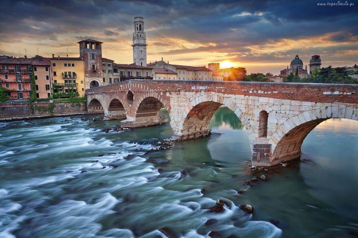 Włochy, Werona, Most, Rzeka, Promienie, Słońca