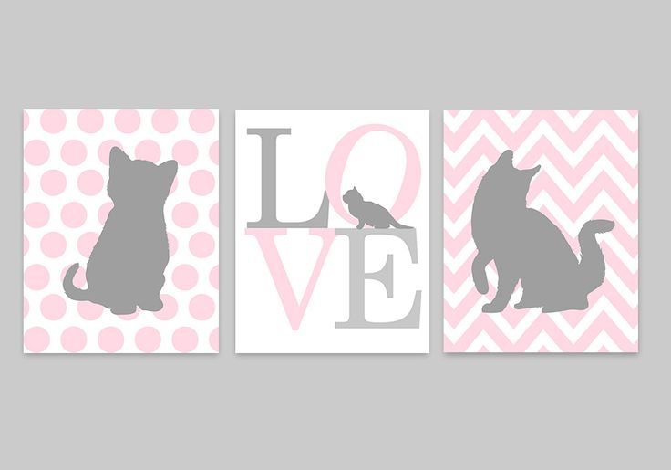 Décor de pépinière de chaton, Art mural bébé fille, pépinière rose et gris, amour imprimer, chat   – Olivia