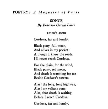 """'Rider's Song' by Federico García Lorca, from """"Songs""""   #Poetry, April 1937   via #PoetryFoundation"""
