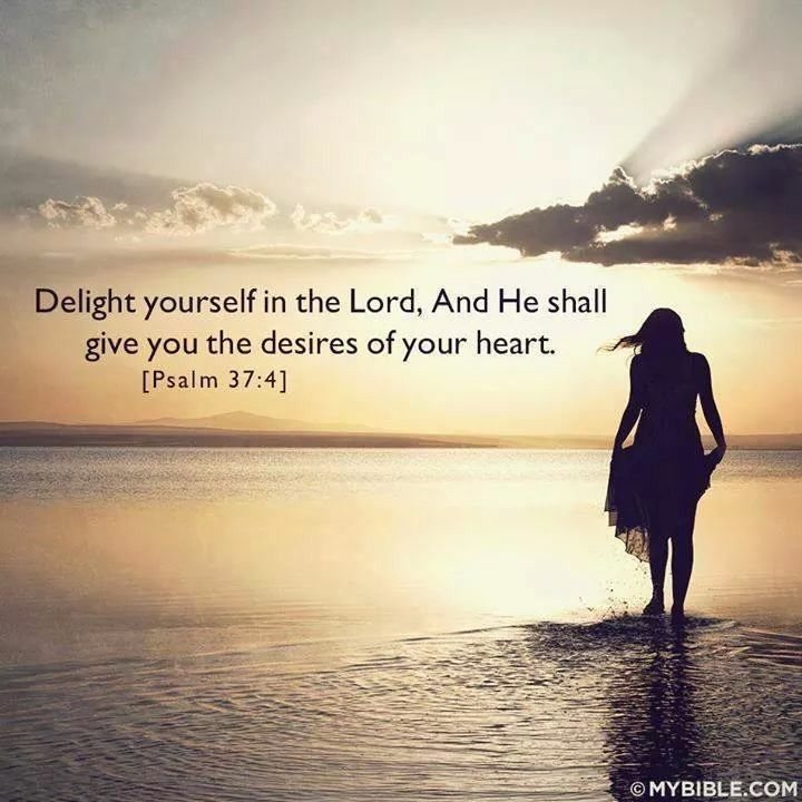 Delight thyself also in the Lord; and he shall give thee the desires of thine heart. ~Psalm 37:4 KJV | Inspirational  scripture, Bible devotions, Psalms