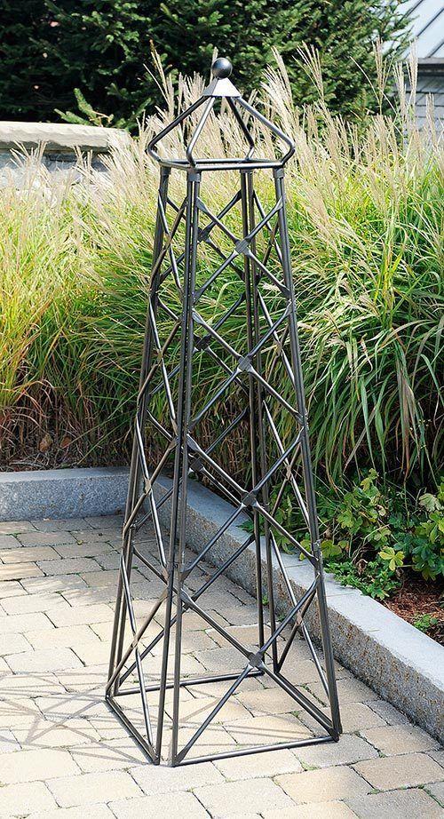 wrouoght iron outdoor lattice garden obelisk trellis yard decor graphite 67t - Metallic Garden Decor