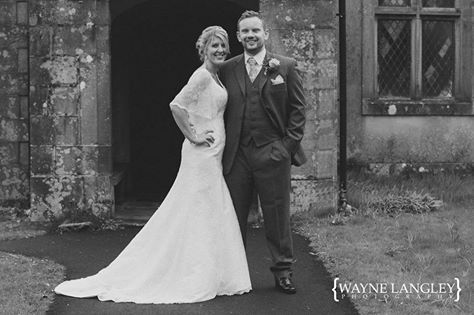 Jenny looks amazing in her Amanda Wyatt gown! #bridalgown #amandawyatt #lace #stunning #weddingdress #weddinginspiration #blackandwhite