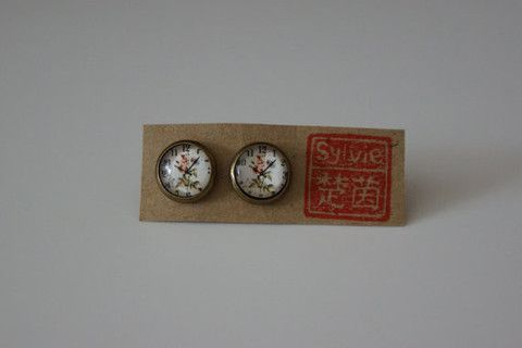 Handmade Clock Face Glass Dome Cabochon Stud Earrings