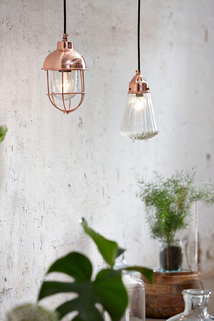 Lámpara de cristal y metal en color cobre de Húbsch a la venta en Miv Interiores