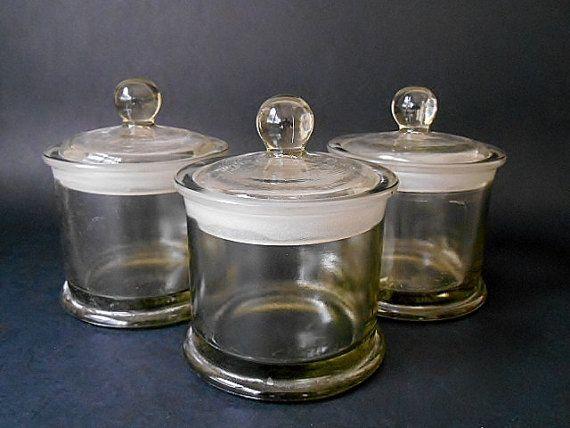 Antike Küche Kanister  Vintage-Set von 3 Lidern Apotheke /