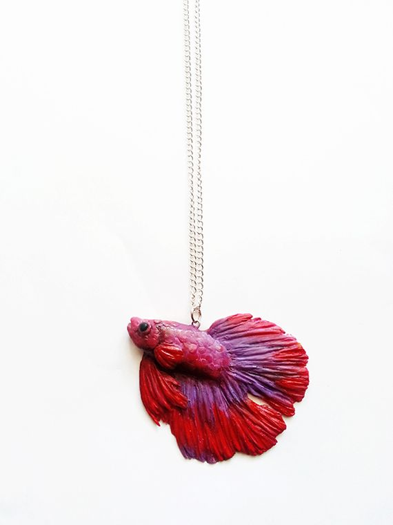 polymer clay beta fish necklace