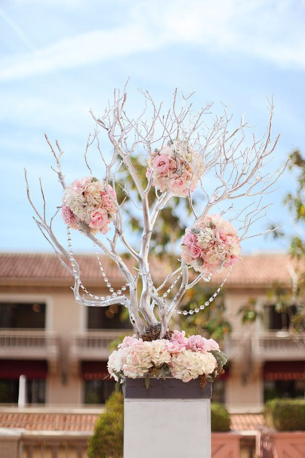 Pink and crystal floral tree centerpiece with grey ribbon detail. Photography by lovisaphoto.com, Wedding Coordination by catherinecindyleo.com, Floral Design by commerceflowers.com