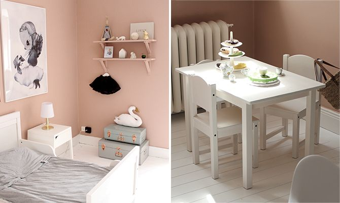 Simple, stylish and playful. This pink children's room is painted with Alcro Old Rose on the walls.