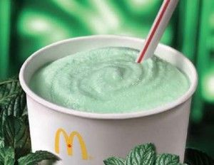 shamrockshake  Ingredients:        2 cups vanilla ice cream or 2 cups soy ice cream      1 1/4 cups 2% low-fat milk or 1 1/4 cups soymilk      1/4 teaspoon mint extract      8 drops green food coloring    Blend it all together until it has a nice creamy texture and all of the food coloring has been evenly mixed in to give it that nice green tone.
