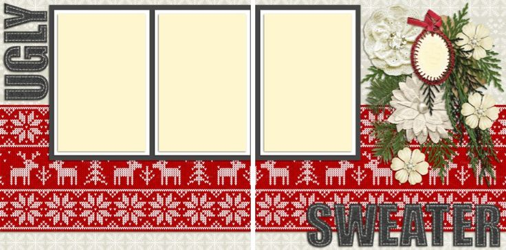 Ugly Sweater Christmas Party - Double Layout Scrapbook pages by EZscrapbooks.com We offer designs in both Physical AND digital formats. Just add photos!