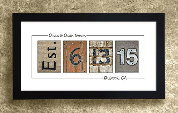 A great wedding gift idea! He'll never for your anniversary with your wedding date on the wall! Personalize with your names and location of the wedding venue.