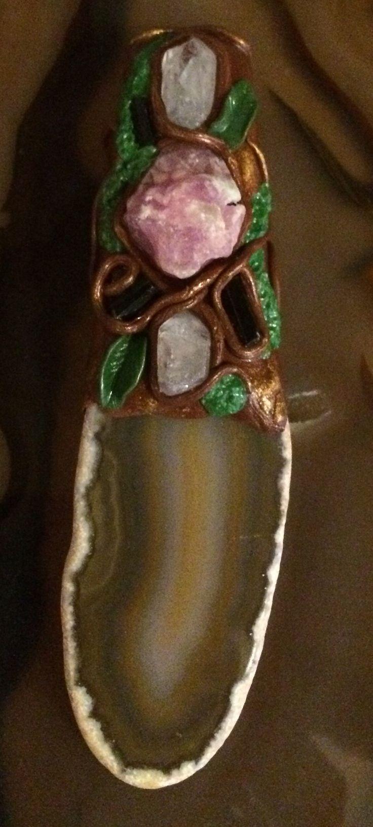 Polymeer klei hanger agaat- robijn-aquamarijn- groene toermalijn