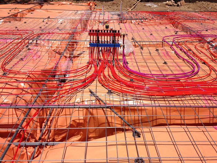 Water Underfloor Heating is the most comfortable and pleasant form of heating due to its natural radiation and convection. Floor heating is usually installed in new homes or extensions where the pipes are laid before the concrete slab is poured. water underfloor heating has no fan force air movement so dust is minimized making it the ideal form of heating for asthmatics and allergy sufferers. It is silent, reliable and healthy.